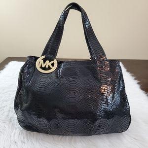 **Michael Kors Black Python Embossed Shoulder Bag